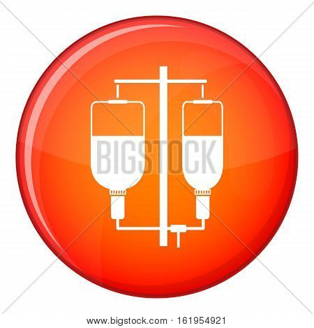 Intravenous infusion icon in red circle isolated on white background vector illustration