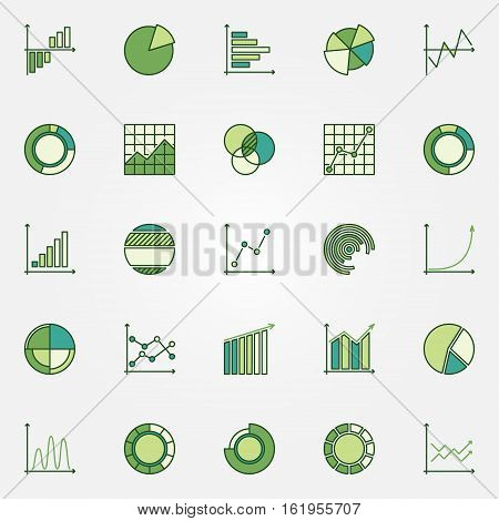 Colorful business graphs icons. Vector green diagram, chart and graph concept signs