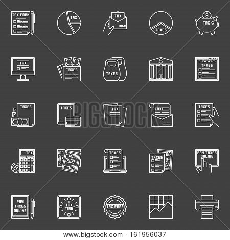 Tax line icons. Vector collection of white outline taxes concept symbols. Pay taxes online linear signs on dark background