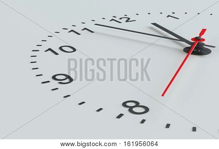 Clock face on grey background. Hands pointing to midday. 3D rendering