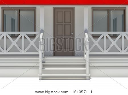 Close-up house with porch, door and windows. Front view. 3D illustration