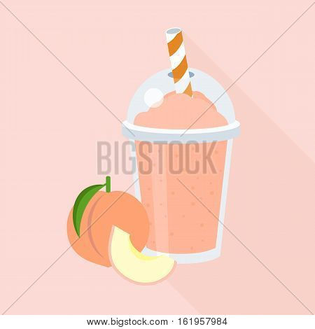 Peach smoothie in plastic glass, flat design with long shadow