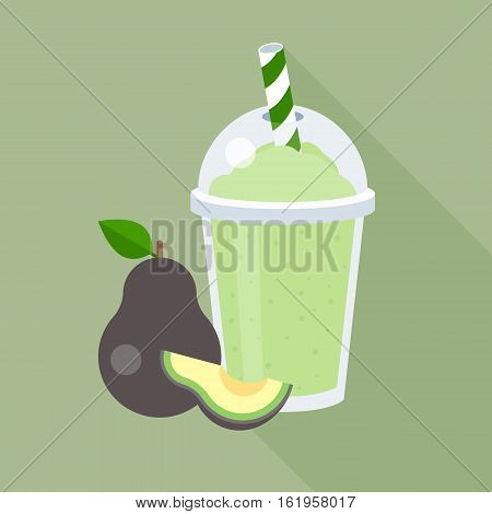 Avocado smoothie with piece of avocado in plastic glass, flat design with long shadow