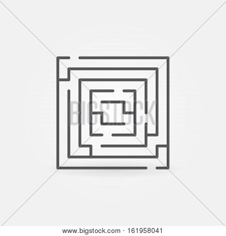 Square labyrinth linear icon. Vector outline maze symbol or sign