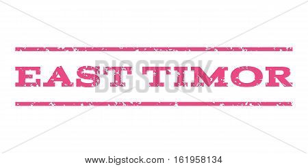 East Timor watermark stamp. Text caption between horizontal parallel lines with grunge design style. Rubber seal stamp with scratched texture. Vector pink color ink imprint on a white background.