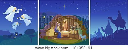 Three christian Christmas scenes. Holy night. Angels in sky above the field. Birth of Jesus Christ in Bethlehem. Josef, Mary and the Baby in the manger. Sheep and donkey are looking at the King. Shepherds came to worship the Lord. Three wise men on camels