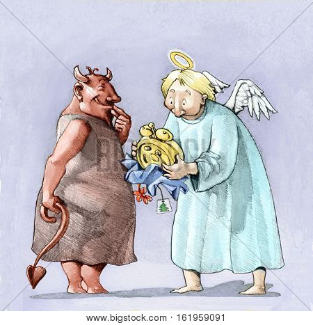 a mischievous little devil gives an alarm to a baffled angel