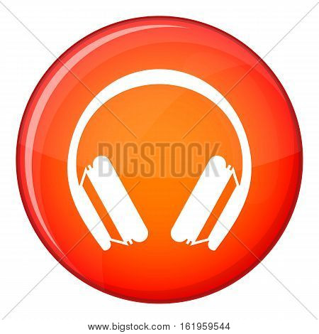Protective headphones icon in red circle isolated on white background vector illustration