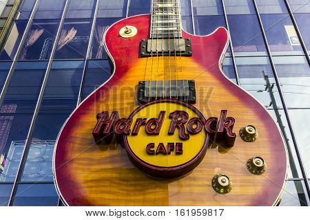 Las Vegas - Circa December 2016: The Hard Rock Cafe On The Strip. The Hard Rock Sign Is Embedded In