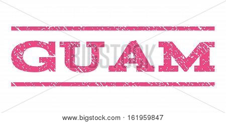Guam watermark stamp. Text caption between horizontal parallel lines with grunge design style. Rubber seal stamp with dust texture. Vector pink color ink imprint on a white background.