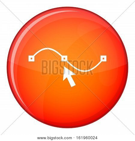 Drawing the curve icon in red circle isolated on white background vector illustration