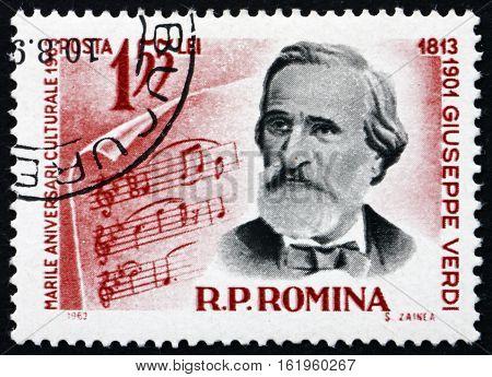 ROMANIA - CIRCA 1963: a stamp printed in Romania shows Giuseppe Verdi Italian Opera Composer circa 1963