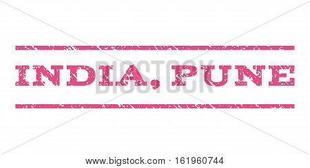 India, Pune watermark stamp. Text tag between horizontal parallel lines with grunge design style. Rubber seal stamp with dust texture. Vector pink color ink imprint on a white background.