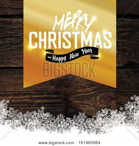 Merry Christmas! Golden Greeting Tag on Wooden Background. Snowflakes border isolated by downside.