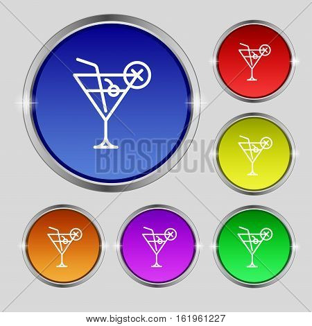 Martini Glass Icon Sign. Round Symbol On Bright Colourful Buttons. Vector