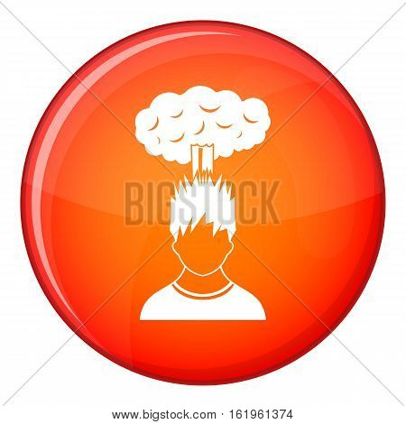Man with red cloud over head icon in red circle isolated on white background vector illustration