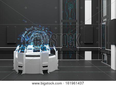 Render Futuristic interior. Hologram Earth. UI interface touchscreen