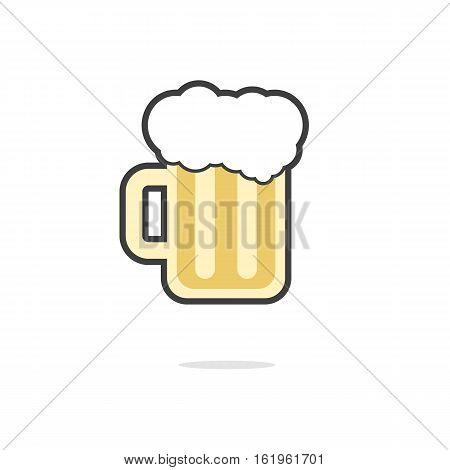 simple glass of beer icon. concept of restaurant, celebrate, oktoberfest, barley, porterhouse, brasserie. isolated on white background. flat style trend modern logo design vector illustration