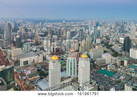 Aerial view Bangkok central business downtown skyline, Thailand