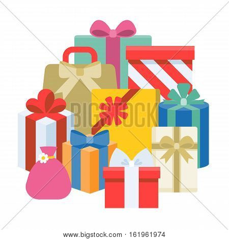 Pile of present boxes, flat design vector
