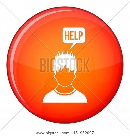 Man needs help icon in red circle isolated on white background vector illustration