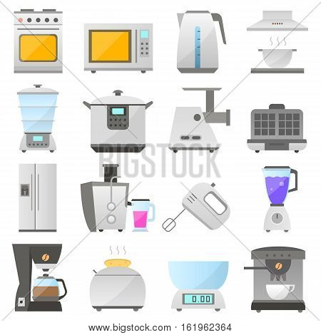 big set of modern icon of electrical kitchen appliances isolated on white background vector flat design appliances group. electric kitchen iron objects collection design. vector home kitchen icon.
