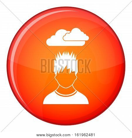 Depressed man with dark cloud over his head icon in red circle isolated on white background vector illustration