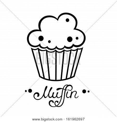 Muffin icon. Vector illustration in simple flat style. Muffin cafe or bakery logo design. Cupcake vector illustration.