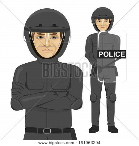 mature serious police man riot officer standing over white background