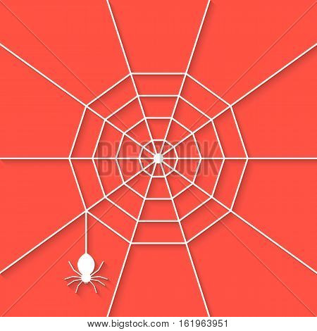white cobweb with shadow on red background. concept of netting, warning, thread, haunting, invertebrate, tarantula, dangerous, evil. flat style trend modern design vector illustration