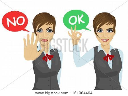 working woman posing with speech bubble says ok and no over white background