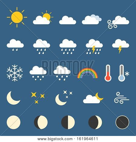 Weather and moon icon collection, flat design