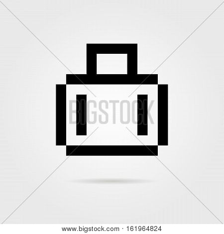 black 8 bit suitcase for travel with shadow. concept of visual identity, cruise, tourist, trip around the world. isolated on white background. pixelart style modern logotype design vector illustration