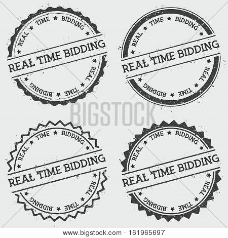Real Time Bidding Insignia Stamp Isolated On White Background. Grunge Round Hipster Seal With Text,