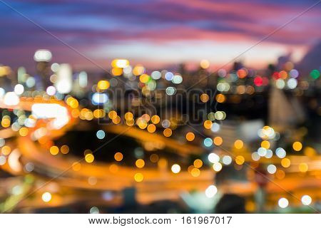 Blurred lights night view city and highway interchanged, abstract background