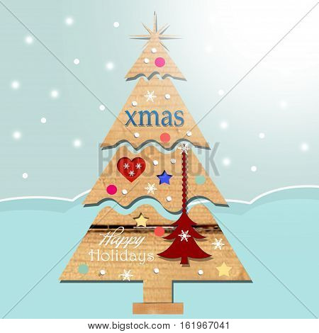 background with  wood christmas tree and decoration