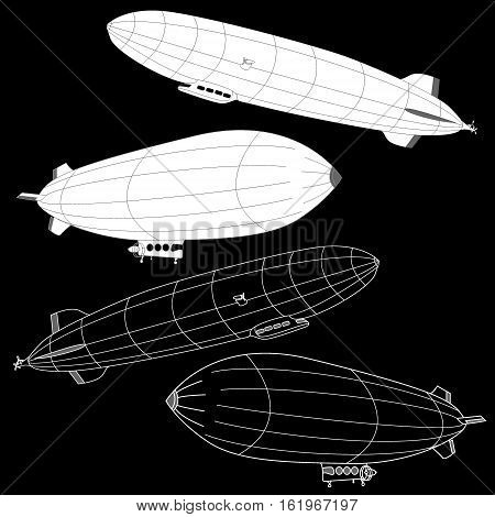 Vintage airship. Dirigible balloon. Illustration isolated .