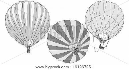 Hot Air Balloon / montgolfier isolated on white .