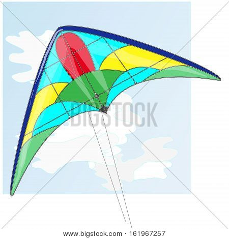 Kite. Illustration of colorful kite and clouds in the sky.