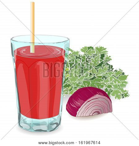 Fresh tomato juice isolated on white background with onion and parsley