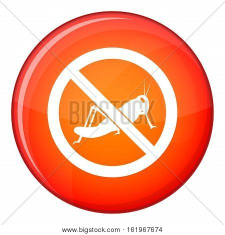 No locust sign icon in red circle isolated on white background vector illustration