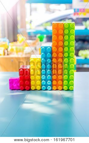 colorful building blocks children game, business concept