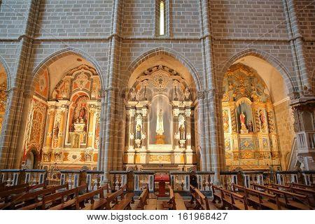 EVORA, PORTUGAL - OCTOBER 9, 2016: The interior of Sao Francisco church