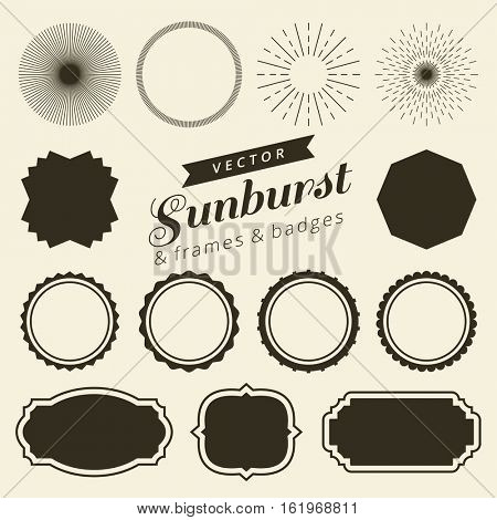 Set of vintage line frames, labels and sunburst. Hipster border and frames design with light ray. Suitable for banner, label, sticker, apparel design, tags, screen and printing. Vector illustration