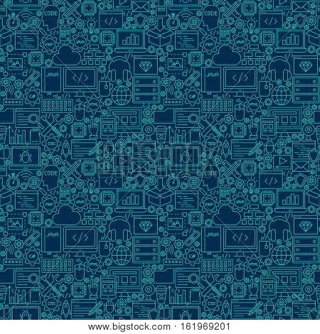 Line Programming Dark Seamless Pattern. Vector Illustration of Outline Tile Background. Coding Resources.