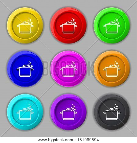 Pot Icon Sign. Symbol On Nine Round Colourful Buttons. Vector