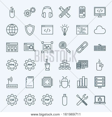 Line Programming Icons. Vector Collection of Modern Thin Outline Coding and Web Development Symbols.