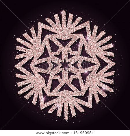 Pink Golden Glitter Awesome Snowflake. Luxurious Christmas Design Element, Vector Illustration.