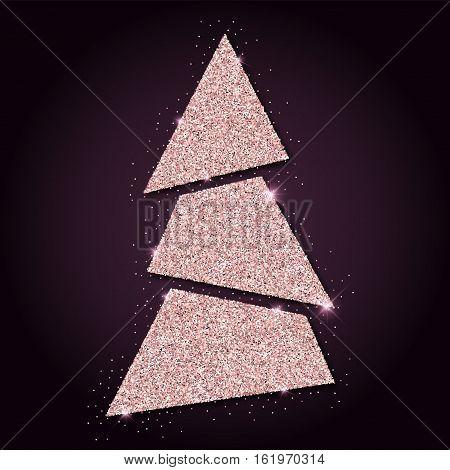 Pink Golden Glitter Charming Christmas Tree. Luxurious Christmas Design Element, Vector Illustration