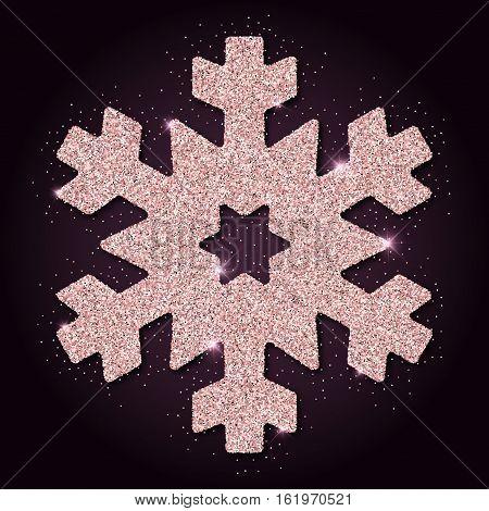 Pink Golden Glitter Resplendent Snowflake. Luxurious Christmas Design Element, Vector Illustration.